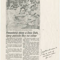 "1982-11-29 Tribune Article: ""Pasadena does a Doo Dah zany parade like no other"""