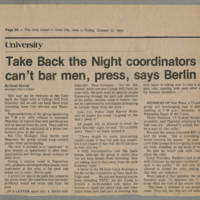 "1982-10-22 Daily Iowan Article: ""Take Back the Night coordinators can't bar men, press, says Berlin"""