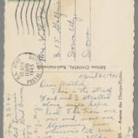 1945-04-22 Helen Angell to Bess Peebles Fox Postcard back