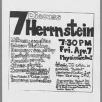 1972-04-07 Flyer: 'Discuss Herrnstein'