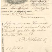 Charles H. Ballard correspondence, Saratoga Springs, N.Y., 1872-1874