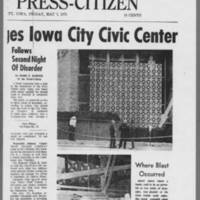 "1971-05-07 Iowa City Press-Citizen Article: """"Bomb Blast Damages Iowa City Civic Center"""" Page 2"