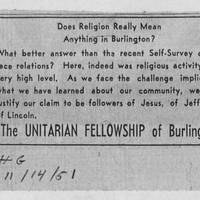 "1951-11-14 Burlington Hawkeye Gazette Article: ""Does Religion Really Mean Anything In Burlington?"""
