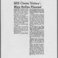 "1970-05-08 Daily Iowan Article: """"SDS Claims 'Victory'; More Rallies Planned"""""