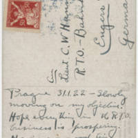 1922-01-31 Postcard: Robert M. Browning to LT. C.W. Hanna - Back