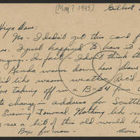 1945-05-?? Don Minick to Dave Elder Postcard