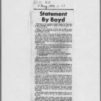 "1970-05-11 Iowa City Press-Citizen Article: """"Statement By Boyd"""""