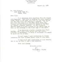 Kingsley M. Clarke correspondence regarding Nile Kinnick - Bob Feller Historical Marker dedication program, 1964