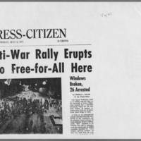 "1971-05-06 Iowa City Press-Citizen Article: """"Anti-War Rally Erupts Into Free-for-All Here"""" Page 1"