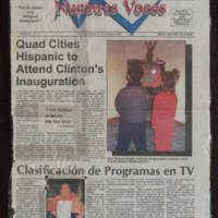 "1997-01-17 Nuestras Voces Article: """"Hispanic to Attend Clinton Inauguration"""" (Mary Terronez)"