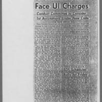 1968-12-03 Article: '3 Students, SDS Face UI Charges' Page 1