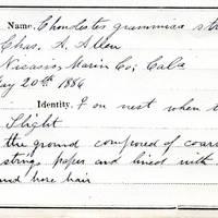 Charles A. Allen, egg card # 002
