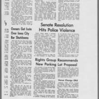 "1971-05-12 Daily Iowan Articles: """"Dorm Protesters Gassed by Police"""" """"Police Charge Crowd Gathered Near Dorms"""" Page 4"