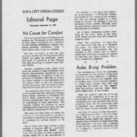 "1970-12-16 IowaCity Press-Citizen Editorial: """"No Cause for Comfort"""""