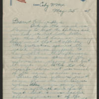1918-05-25 Thomas Messenger to Mr. & Mrs. N.H. Messenger Page 1