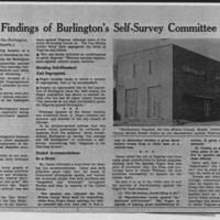 "Burlington Hawkeye Gazette Article: ""Findings of Burlington's Self-Survey Committee"""