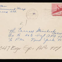 1945-10-20 Evelyn Burton to Carroll Steinbeck - Envelope