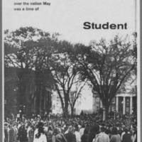 "1970-06 Iowa Alumni Review """"At the U of I and over the nation May was a time of Student Protest"""" Page 1"