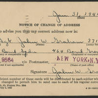 1944-02-17 Page 3 - Change of Address card