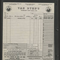 Order form for Van Dyke's, Woonsocket, South Dakota