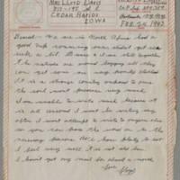 1943-02-24 Lloyd Davis to Laura Davis Page 1