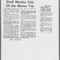 "1971-05-15 Daily Iowan Article: """"Draft Marcher Tells Of Des Moines Trip"""" ICPC Article: """"Police Make Another Arrest In Dorm Battle"""""