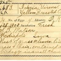 Samuel B. Matson, egg card # 013