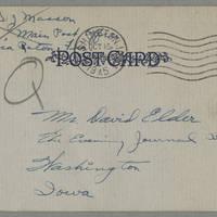 1945-10-11 Sgt. David J. Masson to Dave Elder Postcard back