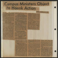 1971-01-29 'Campus Ministers Object to Hoenk Action'