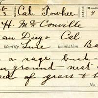 H McConville, egg card # hm006u
