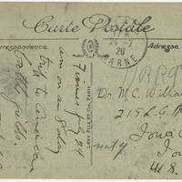 1920-09-26 Robert M. Browning to Dr. Mabel C. Williams - Postcard - Back