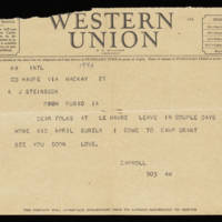 Telegram: Carroll Steinbeck to Alfred and Vira Steinbeck