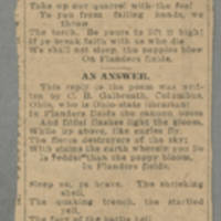 "1918-01-28 Clipping: """"In Flanders Fields"""" Page 1"