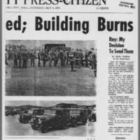 "1970-05-09 Iowa City Press-Citizen Article: """"Guard Called; Building Burns"""" Page 2"