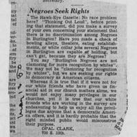 "1950-05-13 Burlington Hawkeye Gazette Letter: ""Negroes Seek Rights"""