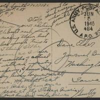 1945-06-05 Pfc. Arnold Smith to Dave Elder Postcard back