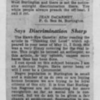 "1950-05-20 Burlington Hawkeye Gazette Letters: ""Protest from Negroes""; ""Say Discrimination Sharp"""