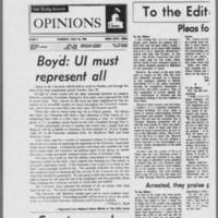 "1970-05-12 Daily Iowan Editorials: """"Pleas for legitimate protests"""" Page 1"
