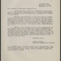 1947-09-14 Dorothy Schramm to Officers of Burlington Organizations