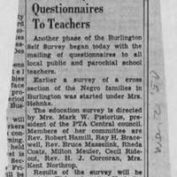 "1950-05-02 Burlington Hawkeye Gazette Article: ""Self Survey Questionnaires To Teachers"""