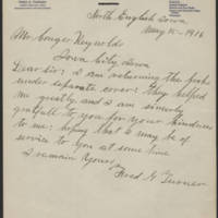 Conger Reynolds correspondence, May-December 1916