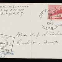 Carroll Steinbeck to Alfred and Vira Steinbeck Envelope