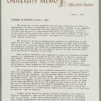 1972-03-07 University Memorandum from University President Willard L. Boyd Page 1