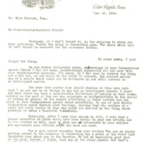 Tait Cummins letter to Nile Kinnick, January 22, 1940