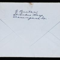 1946-03-04 Evelyn Burton to Carroll Steinbeck - Envelope back