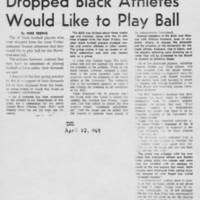 "1969-04-22 Daily Iowan Article: ""Dropped Black Athletes Would Like To Play Ball"""