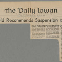 1971-03-10 Daily Iowan Article: 'Garfield Recommends Suspension of SDS' Page 1