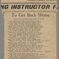"1919-01-13 Des Moines Capital Clipping: """"To Get Back Home"""" Page 1"