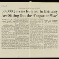 Stars and Stripes Article: '53,000 Jerries Isolated in Brittany Are Sitting Out the 'Forgotten War''