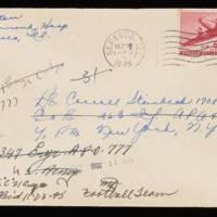 1945-09-27 Evelyn Burton to Carroll Steinbeck - Envelope